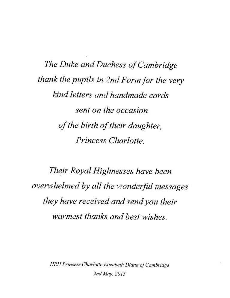 Lettre de Kate et William 2015