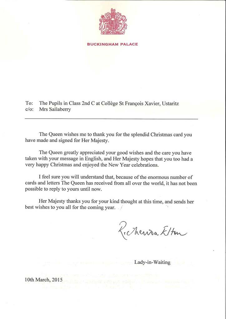 Lettre de la Reine Elizabeth II