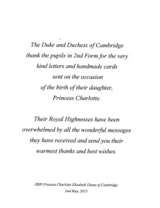 William and Kate's letter